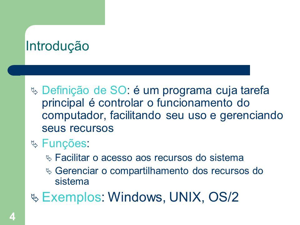 4 Introdução Definição de SO: é um programa cuja tarefa principal é controlar o funcionamento do computador, facilitando seu uso e gerenciando seus recursos Funções: Facilitar o acesso aos recursos do sistema Gerenciar o compartilhamento dos recursos do sistema Exemplos: Windows, UNIX, OS/2