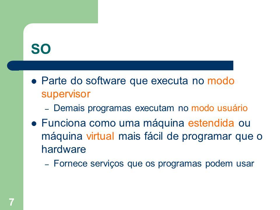 7 SO Parte do software que executa no modo supervisor – Demais programas executam no modo usuário Funciona como uma máquina estendida ou máquina virtual mais fácil de programar que o hardware – Fornece serviços que os programas podem usar