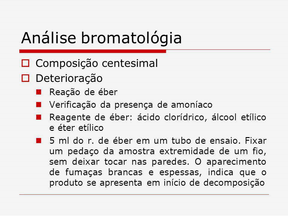 Análise bromatológia Composição centesimal Deterioração Reação de éber Verificação da presença de amoníaco Reagente de éber: ácido clorídrico, álcool