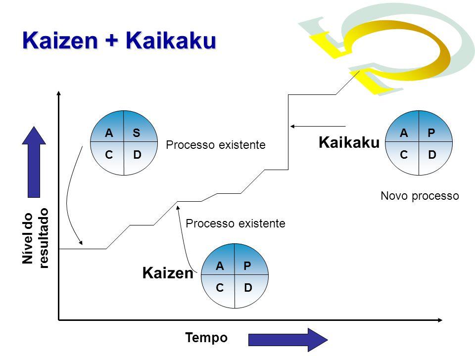Nível do resultado Tempo A S C D A P C D A P C D Kaizen Kaikaku Processo existente Novo processo Kaizen + Kaikaku