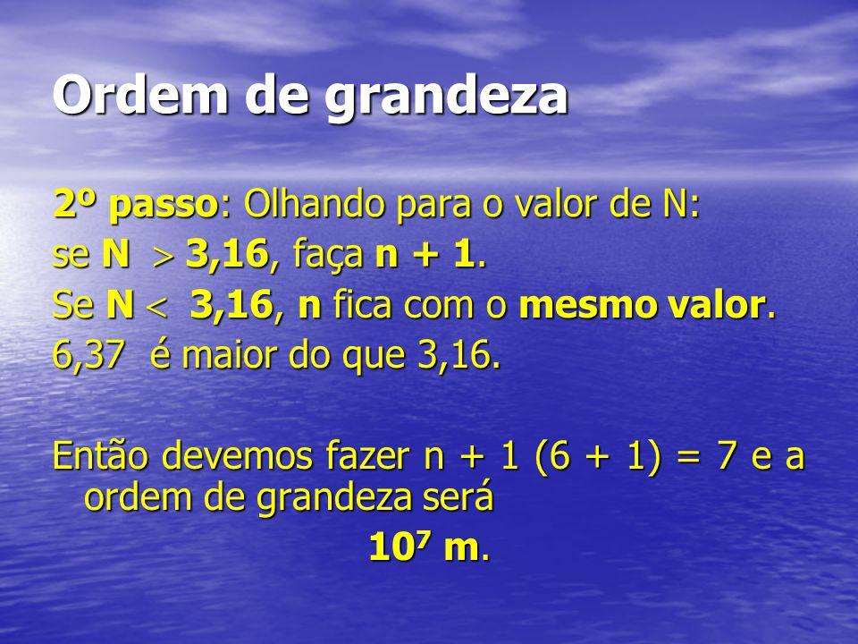 Ordem de grandeza 2º passo: Olhando para o valor de N: se N 3,16, faça n + 1. Se N 3,16, n fica com o mesmo valor. 6,37 é maior do que 3,16. Então dev