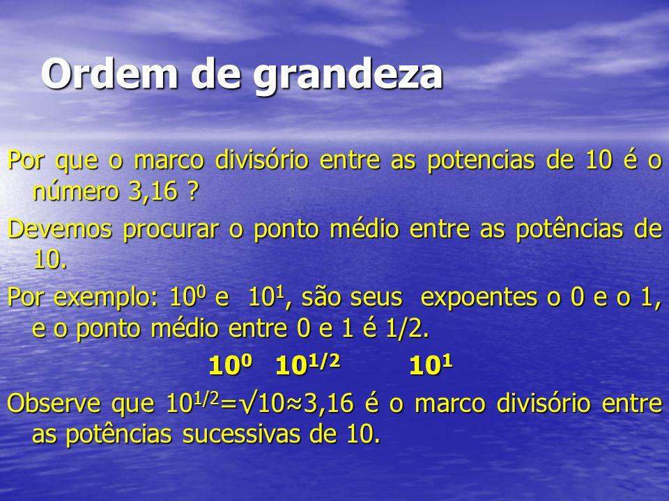 Ordem de grandeza Por que o marco divisório entre as potencias de 10 é o número 3,16 ? Devemos procurar o ponto médio entre as potências de 10. Por ex