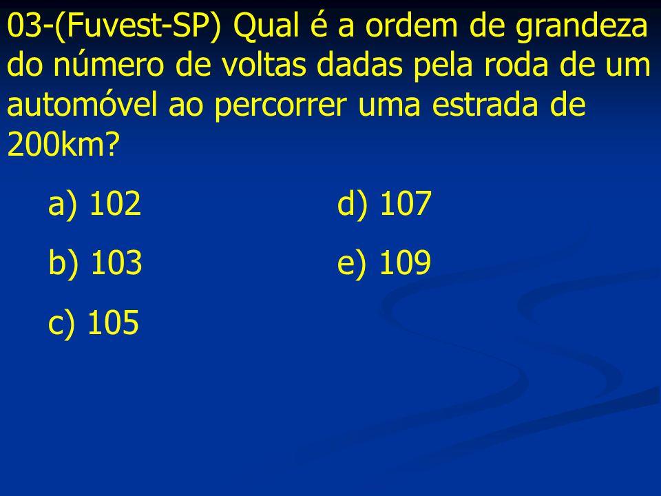 03-(Fuvest-SP) Qual é a ordem de grandeza do número de voltas dadas pela roda de um automóvel ao percorrer uma estrada de 200km? a) 102d) 107 b) 103e)