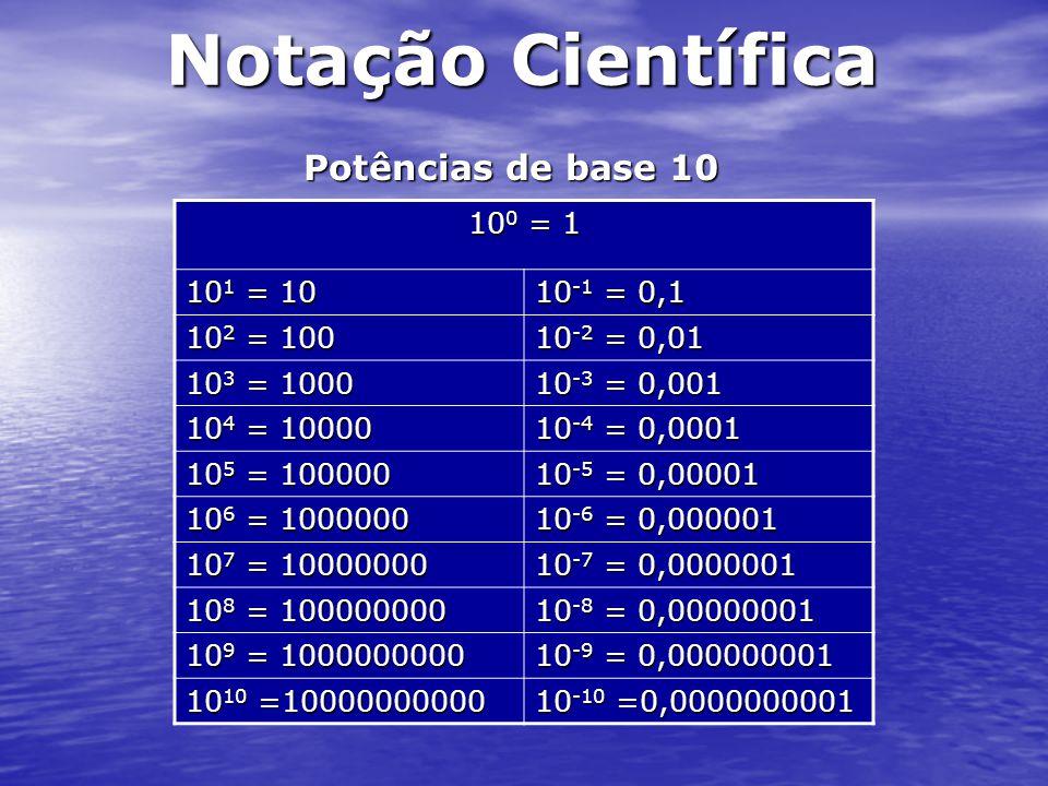 Notação Científica Qual será a representação de um número em notação Científica.