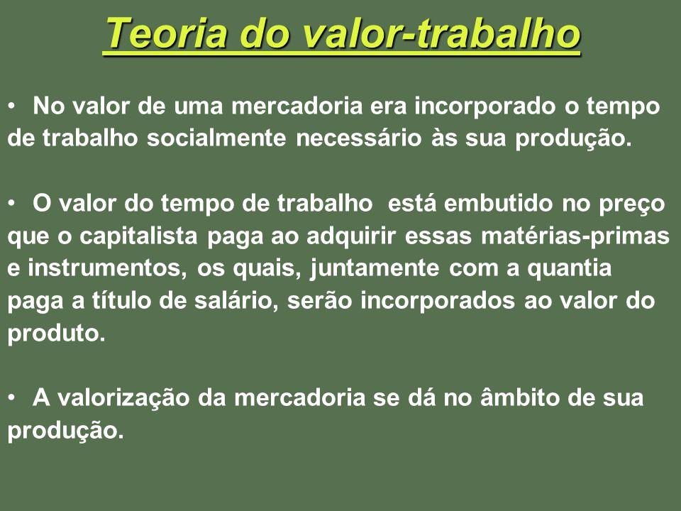 Teoria do valor-trabalho No valor de uma mercadoria era incorporado o tempo de trabalho socialmente necessário às sua produção. O valor do tempo de tr