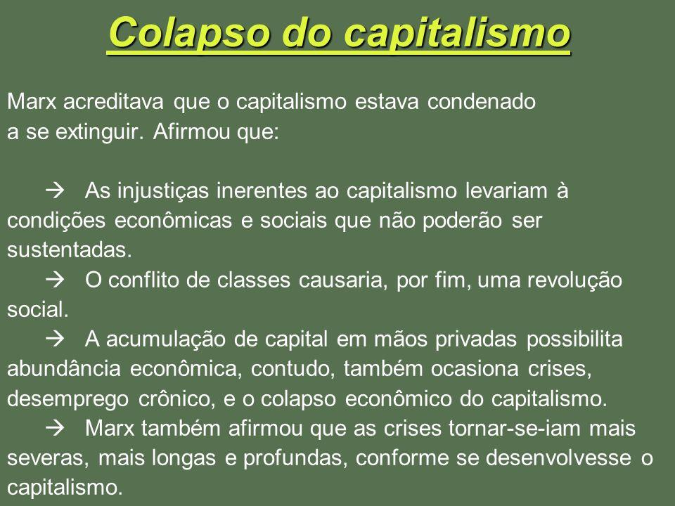 Colapso do capitalismo Marx acreditava que o capitalismo estava condenado a se extinguir. Afirmou que: As injustiças inerentes ao capitalismo levariam