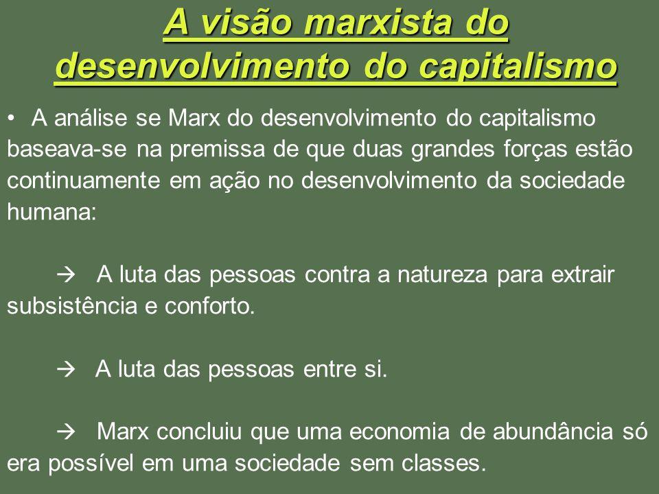 A visão marxista do desenvolvimento do capitalismo A análise se Marx do desenvolvimento do capitalismo baseava-se na premissa de que duas grandes forç