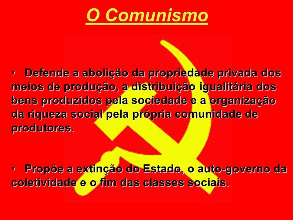 Defende a abolição da propriedade privada dos meios de produção, a distribuição igualitária dos bens produzidos pela sociedade e a organização da riqu