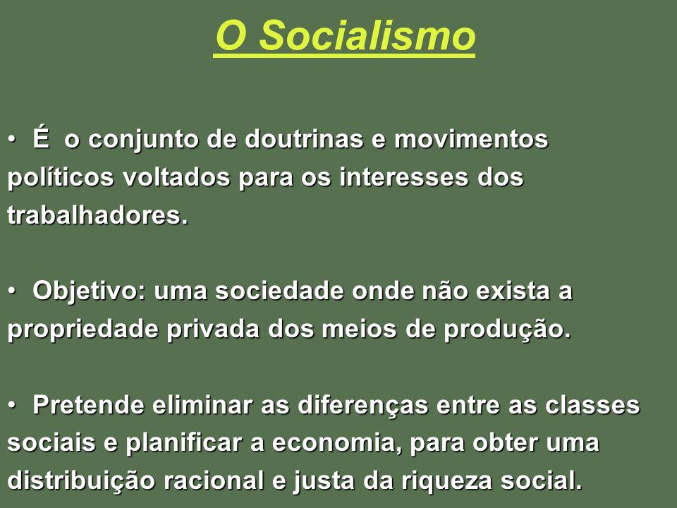 O Socialismo É o conjunto de doutrinas e movimentosÉ o conjunto de doutrinas e movimentos políticos voltados para os interesses dos trabalhadores. Obj
