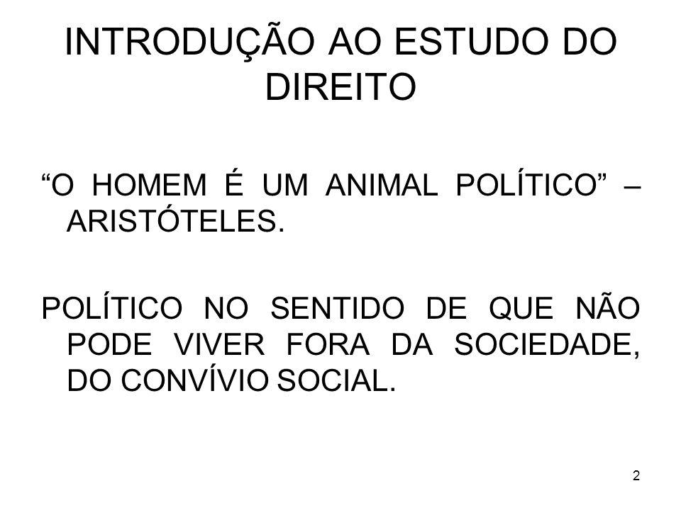 2 INTRODUÇÃO AO ESTUDO DO DIREITO O HOMEM É UM ANIMAL POLÍTICO – ARISTÓTELES.