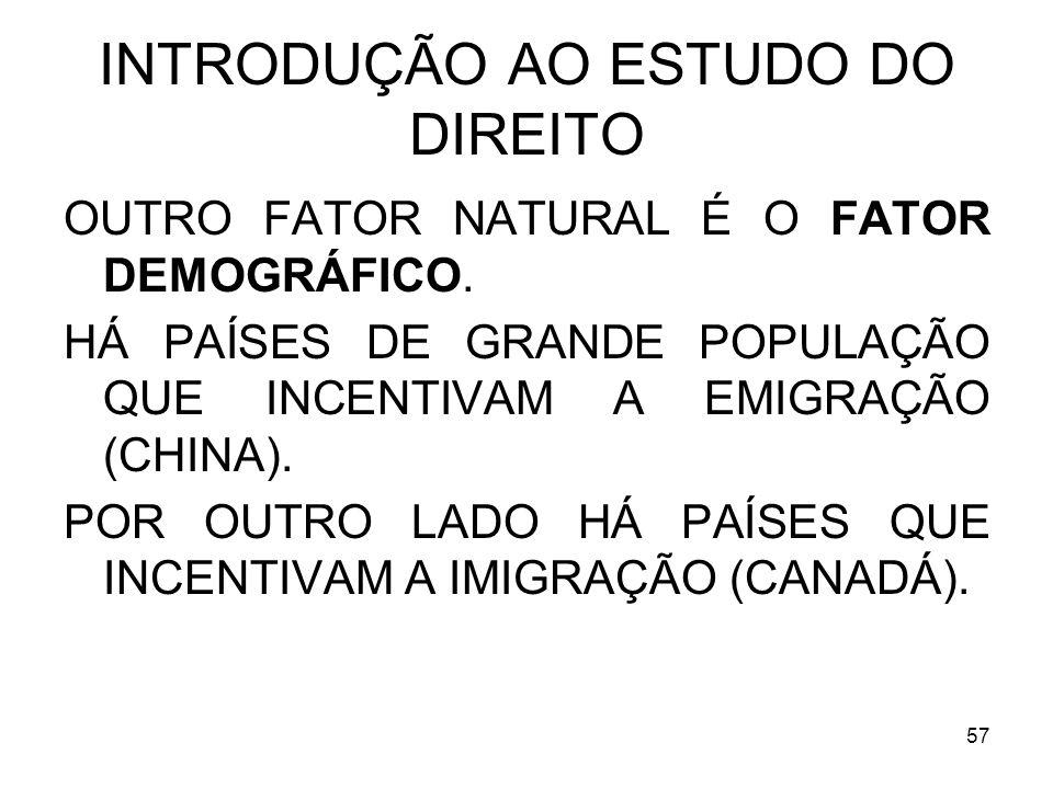 57 INTRODUÇÃO AO ESTUDO DO DIREITO OUTRO FATOR NATURAL É O FATOR DEMOGRÁFICO.