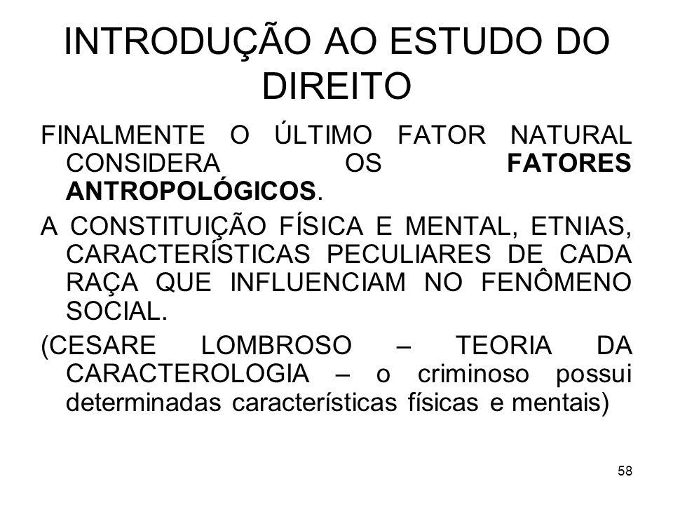 58 INTRODUÇÃO AO ESTUDO DO DIREITO FINALMENTE O ÚLTIMO FATOR NATURAL CONSIDERA OS FATORES ANTROPOLÓGICOS.