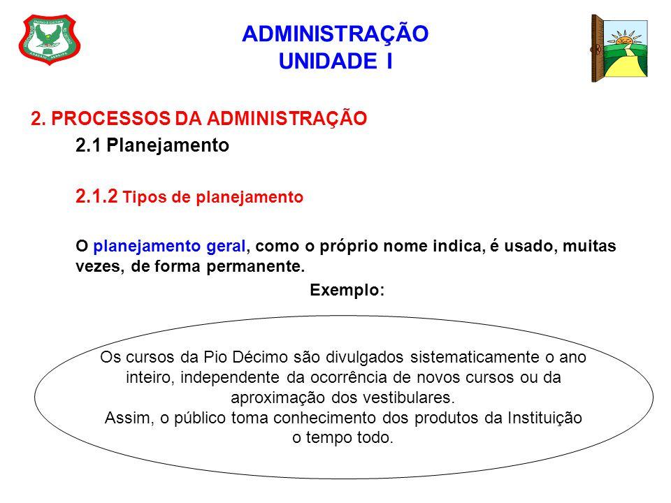 ADMINISTRAÇÃO UNIDADE I 2. PROCESSOS DA ADMINISTRAÇÃO 2.1 Planejamento 2.1.2 Tipos de planejamento O planejamento geral, como o próprio nome indica, é