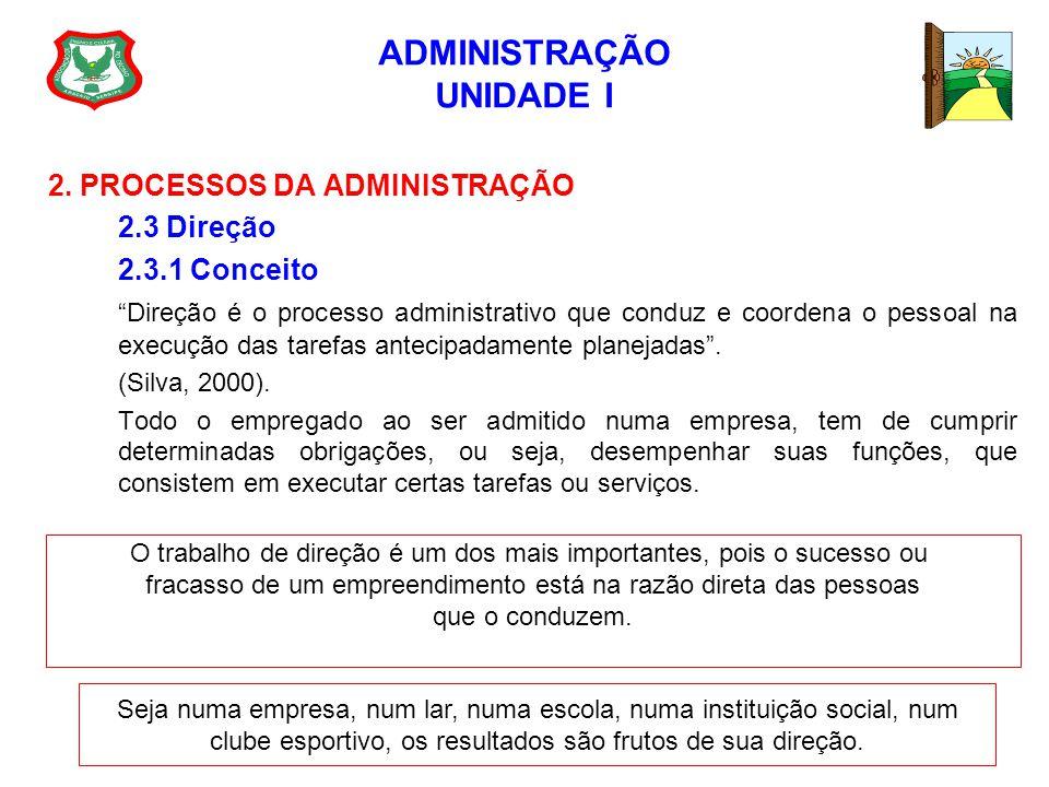 ADMINISTRAÇÃO UNIDADE I 2. PROCESSOS DA ADMINISTRAÇÃO 2.3 Direção 2.3.1 Conceito Direção é o processo administrativo que conduz e coordena o pessoal n
