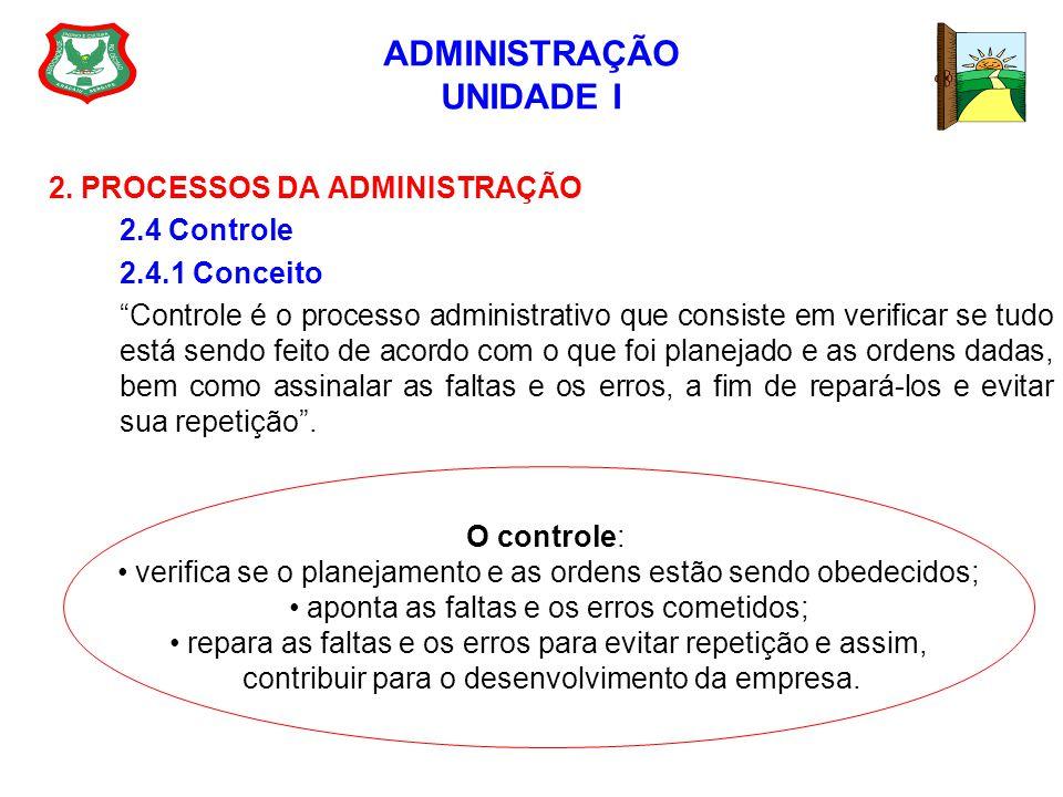 ADMINISTRAÇÃO UNIDADE I 2. PROCESSOS DA ADMINISTRAÇÃO 2.4 Controle 2.4.1 Conceito Controle é o processo administrativo que consiste em verificar se tu