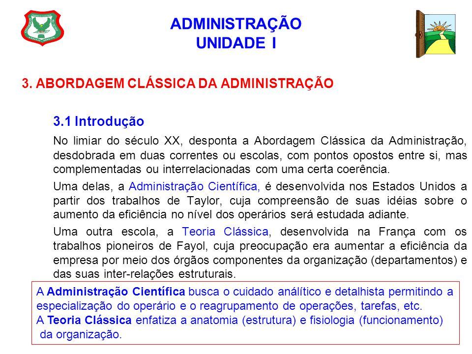 ADMINISTRAÇÃO UNIDADE I 3. ABORDAGEM CLÁSSICA DA ADMINISTRAÇÃO 3.1 Introdução No limiar do século XX, desponta a Abordagem Clássica da Administração,
