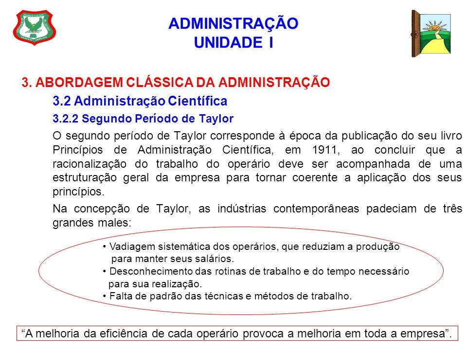 ADMINISTRAÇÃO UNIDADE I 3. ABORDAGEM CLÁSSICA DA ADMINISTRAÇÃO 3.2 Administração Científica 3.2.2 Segundo Período de Taylor O segundo período de Taylo