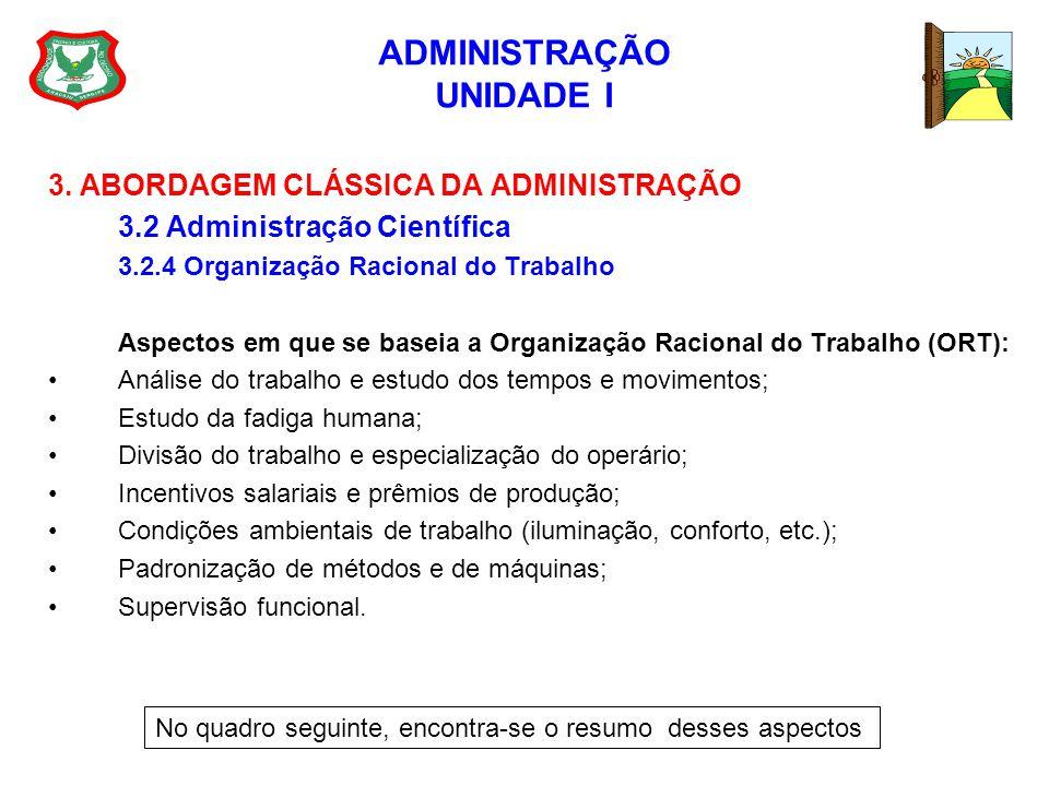 ADMINISTRAÇÃO UNIDADE I 3. ABORDAGEM CLÁSSICA DA ADMINISTRAÇÃO 3.2 Administração Científica 3.2.4 Organização Racional do Trabalho Aspectos em que se