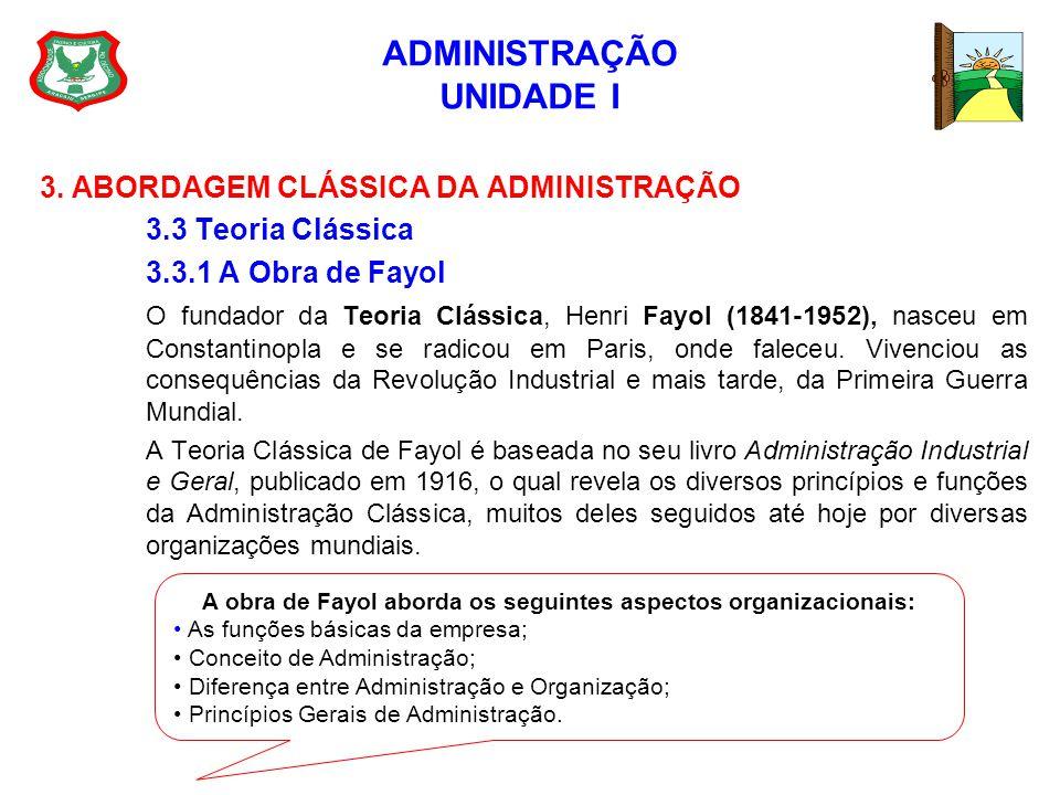 ADMINISTRAÇÃO UNIDADE I 3. ABORDAGEM CLÁSSICA DA ADMINISTRAÇÃO 3.3 Teoria Clássica 3.3.1 A Obra de Fayol O fundador da Teoria Clássica, Henri Fayol (1