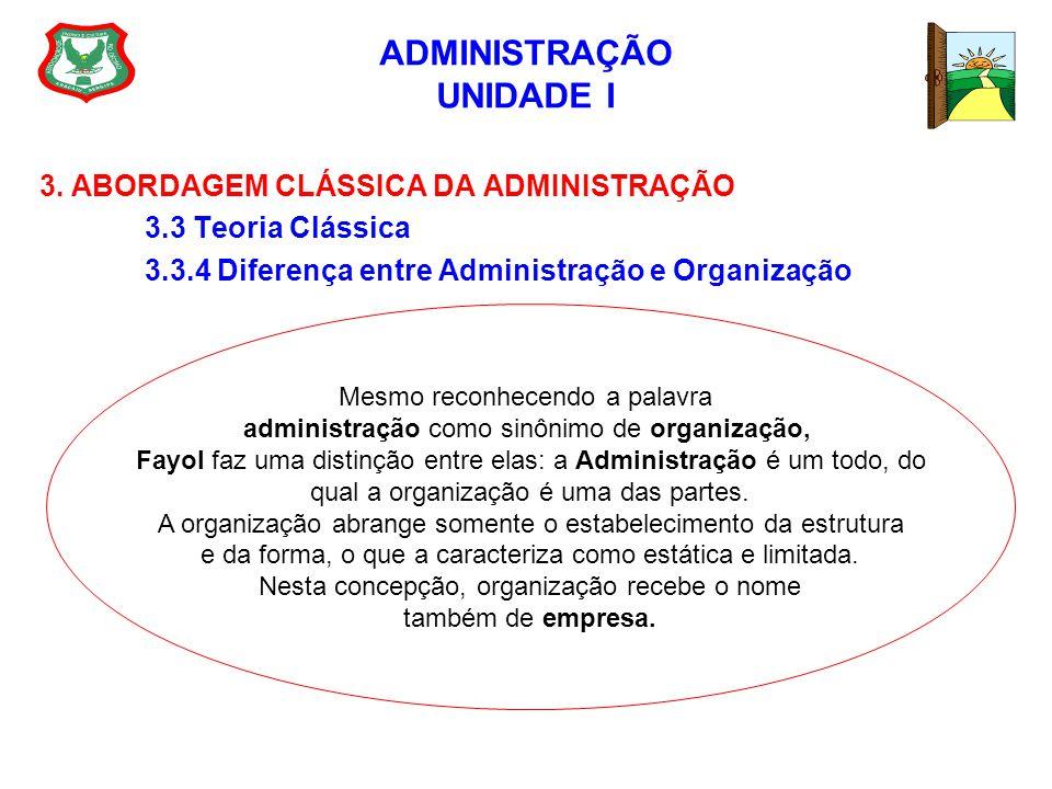 ADMINISTRAÇÃO UNIDADE I 3. ABORDAGEM CLÁSSICA DA ADMINISTRAÇÃO 3.3 Teoria Clássica 3.3.4 Diferença entre Administração e Organização Mesmo reconhecend