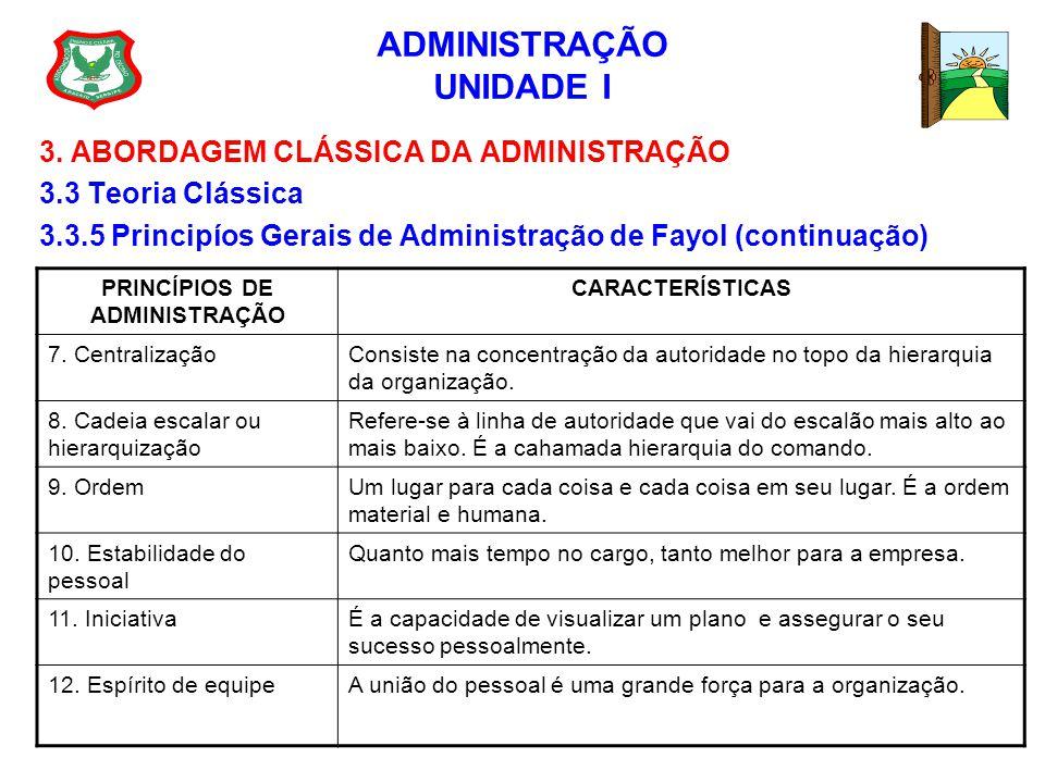 ADMINISTRAÇÃO UNIDADE I 3. ABORDAGEM CLÁSSICA DA ADMINISTRAÇÃO 3.3 Teoria Clássica 3.3.5 Principíos Gerais de Administração de Fayol (continuação) PRI