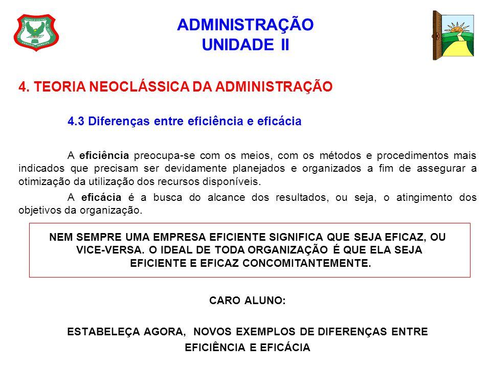 ADMINISTRAÇÃO UNIDADE II 4. TEORIA NEOCLÁSSICA DA ADMINISTRAÇÃO 4.3 Diferenças entre eficiência e eficácia A eficiência preocupa-se com os meios, com