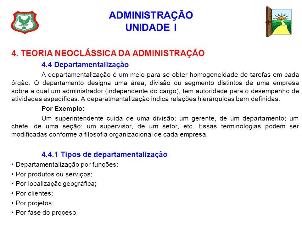ADMINISTRAÇÃO UNIDADE I 4. TEORIA NEOCLÁSSICA DA ADMINISTRAÇÃO 4.4 Departamentalização A departamentalização é um meio para se obter homogeneidade de