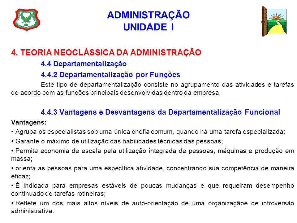 ADMINISTRAÇÃO UNIDADE I 4. TEORIA NEOCLÁSSICA DA ADMINISTRAÇÃO 4.4 Departamentalização 4.4.2 Departamentalização por Funções Este tipo de departamenta