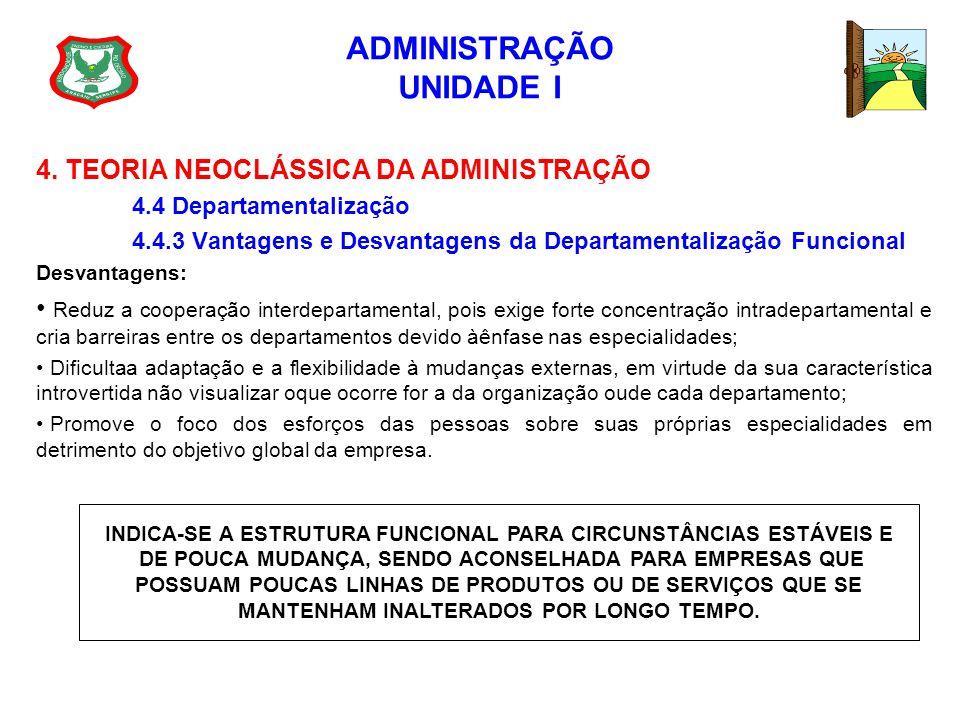 ADMINISTRAÇÃO UNIDADE I 4. TEORIA NEOCLÁSSICA DA ADMINISTRAÇÃO 4.4 Departamentalização 4.4.3 Vantagens e Desvantagens da Departamentalização Funcional