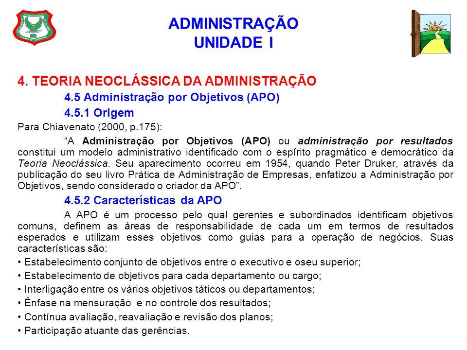 ADMINISTRAÇÃO UNIDADE I 4. TEORIA NEOCLÁSSICA DA ADMINISTRAÇÃO 4.5 Administração por Objetivos (APO) 4.5.1 Origem Para Chiavenato (2000, p.175): A Adm