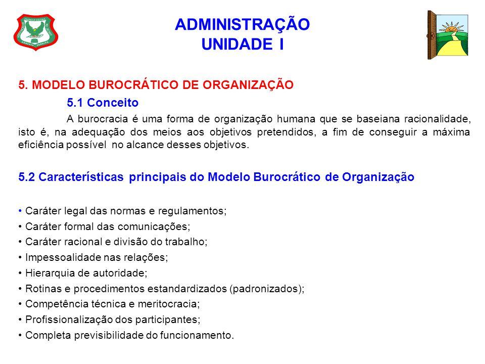 ADMINISTRAÇÃO UNIDADE I 5. MODELO BUROCRÁTICO DE ORGANIZAÇÃO 5.1 Conceito A burocracia é uma forma de organização humana que se baseiana racionalidade