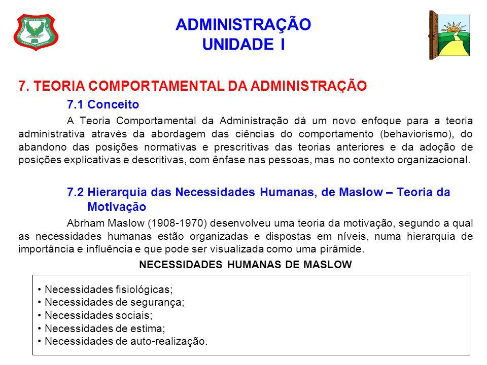ADMINISTRAÇÃO UNIDADE I 7. TEORIA COMPORTAMENTAL DA ADMINISTRAÇÃO 7.1 Conceito A Teoria Comportamental da Administração dá um novo enfoque para a teor