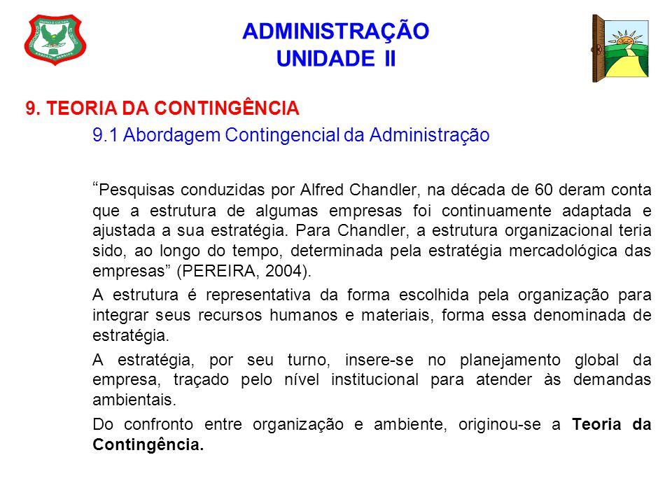 ADMINISTRAÇÃO UNIDADE II 9. TEORIA DA CONTINGÊNCIA 9.1 Abordagem Contingencial da Administração Pesquisas conduzidas por Alfred Chandler, na década de