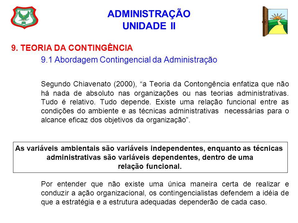 ADMINISTRAÇÃO UNIDADE II 9. TEORIA DA CONTINGÊNCIA 9.1 Abordagem Contingencial da Administração Segundo Chiavenato (2000), a Teoria da Contongência en