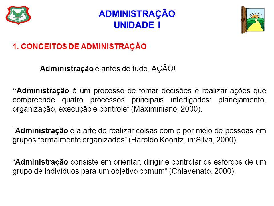ADMINISTRAÇÃO UNIDADE I 1. CONCEITOS DE ADMINISTRAÇÃO Administração é antes de tudo, AÇÃO! Administração é um processo de tomar decisões e realizar aç