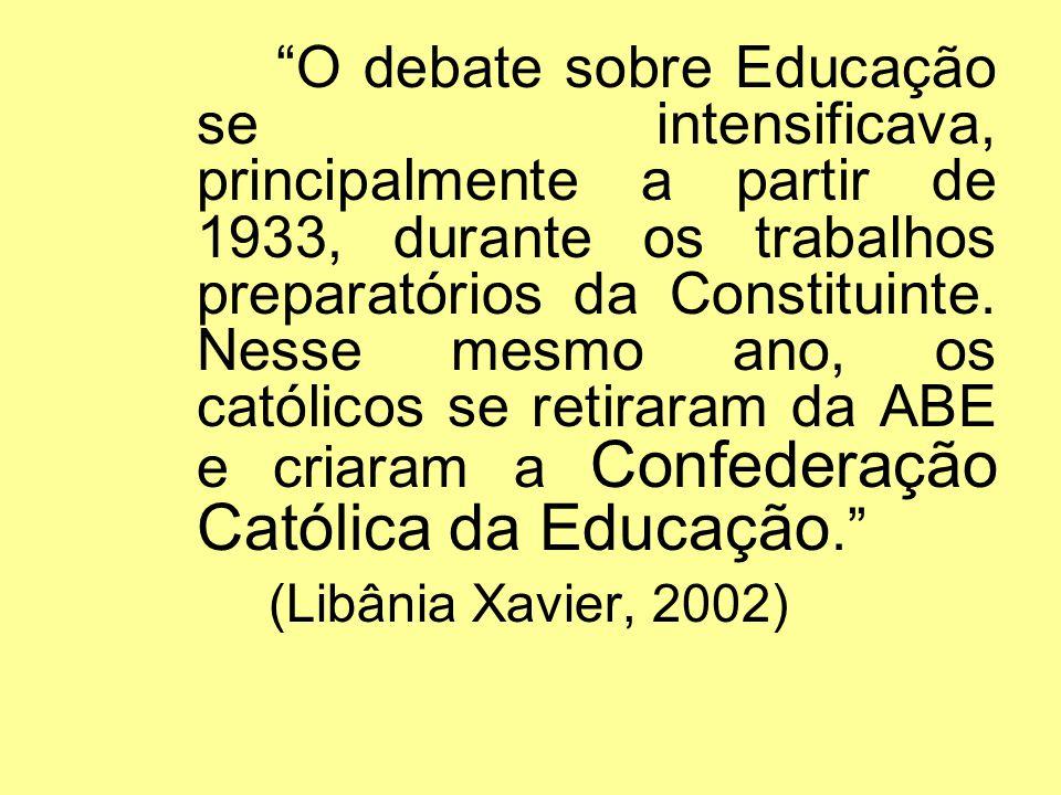O debate sobre Educação se intensificava, principalmente a partir de 1933, durante os trabalhos preparatórios da Constituinte. Nesse mesmo ano, os cat