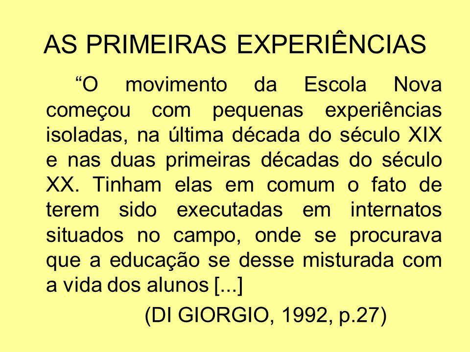 AS PRIMEIRAS EXPERIÊNCIAS O movimento da Escola Nova começou com pequenas experiências isoladas, na última década do século XIX e nas duas primeiras d