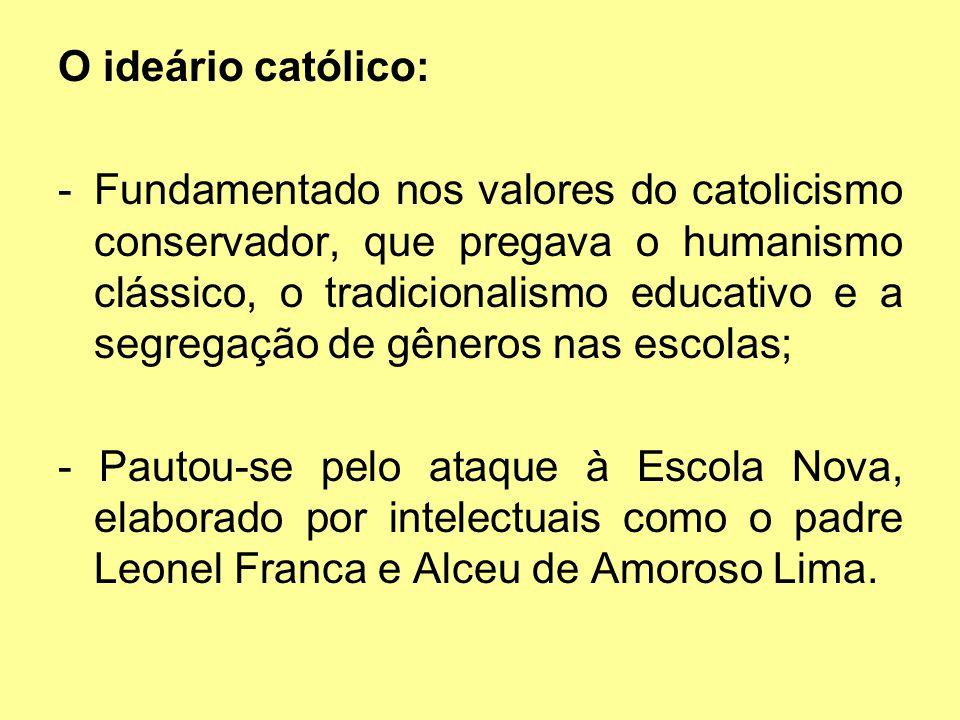 O ideário católico: -Fundamentado nos valores do catolicismo conservador, que pregava o humanismo clássico, o tradicionalismo educativo e a segregação