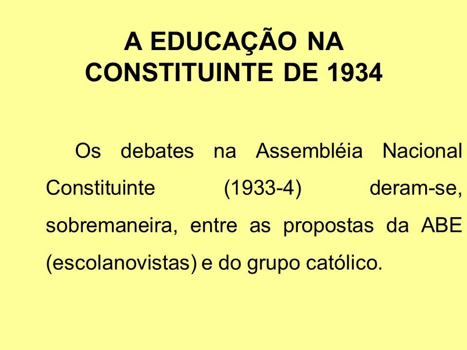 A EDUCAÇÃO NA CONSTITUINTE DE 1934 Os debates na Assembléia Nacional Constituinte (1933-4) deram-se, sobremaneira, entre as propostas da ABE (escolano