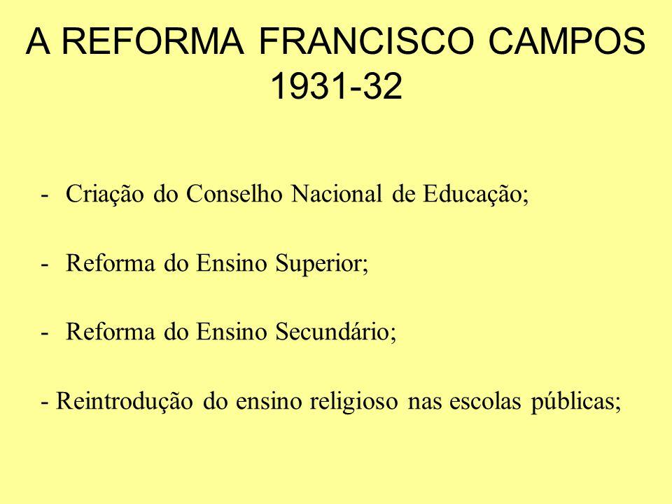 A REFORMA FRANCISCO CAMPOS 1931-32 -Criação do Conselho Nacional de Educação; -Reforma do Ensino Superior; -Reforma do Ensino Secundário; - Reintroduç