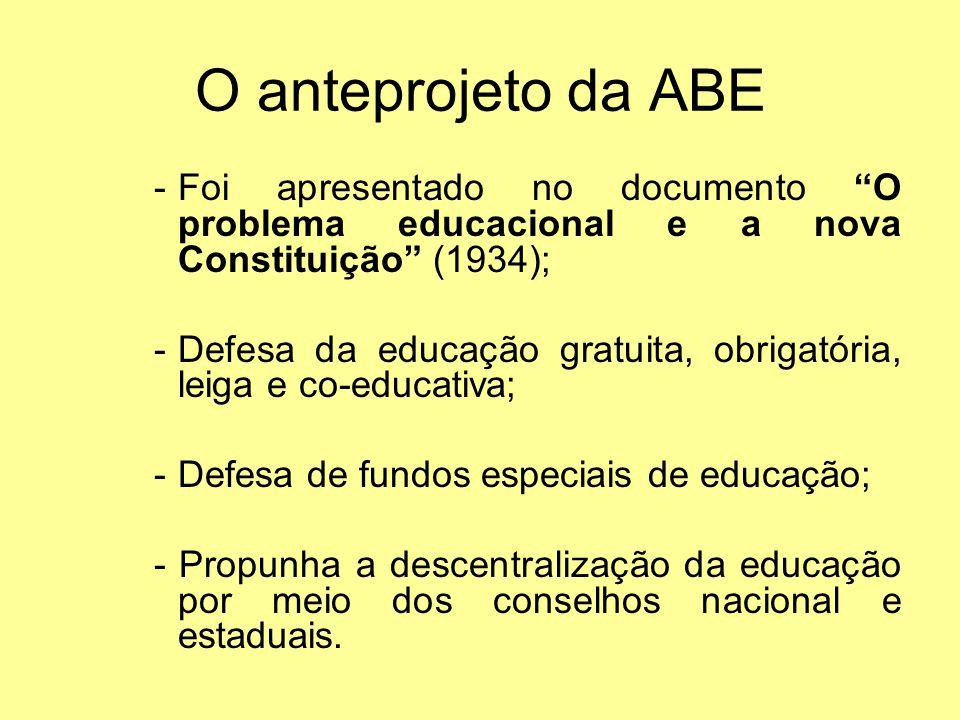 O anteprojeto da ABE -Foi apresentado no documento O problema educacional e a nova Constituição (1934); -Defesa da educação gratuita, obrigatória, lei