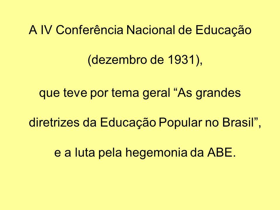 A IV Conferência Nacional de Educação (dezembro de 1931), que teve por tema geral As grandes diretrizes da Educação Popular no Brasil, e a luta pela h