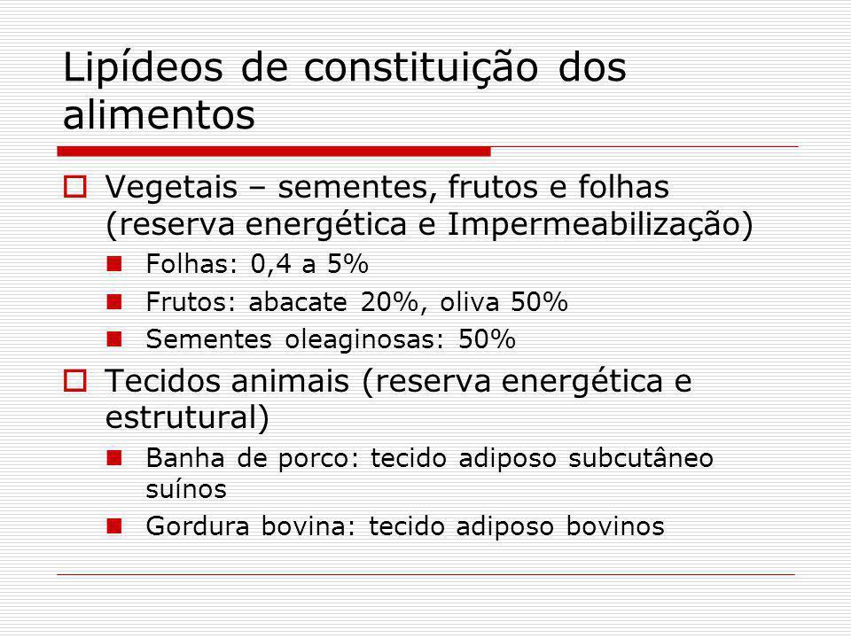 Lipídeos de constituição dos alimentos Vegetais – sementes, frutos e folhas (reserva energética e Impermeabilização) Folhas: 0,4 a 5% Frutos: abacate