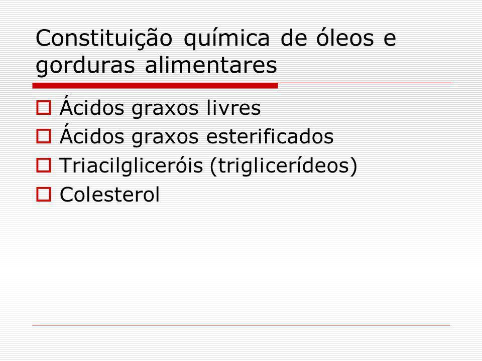 Constituição química de óleos e gorduras alimentares Ácidos graxos livres Ácidos graxos esterificados Triacilgliceróis (triglicerídeos) Colesterol