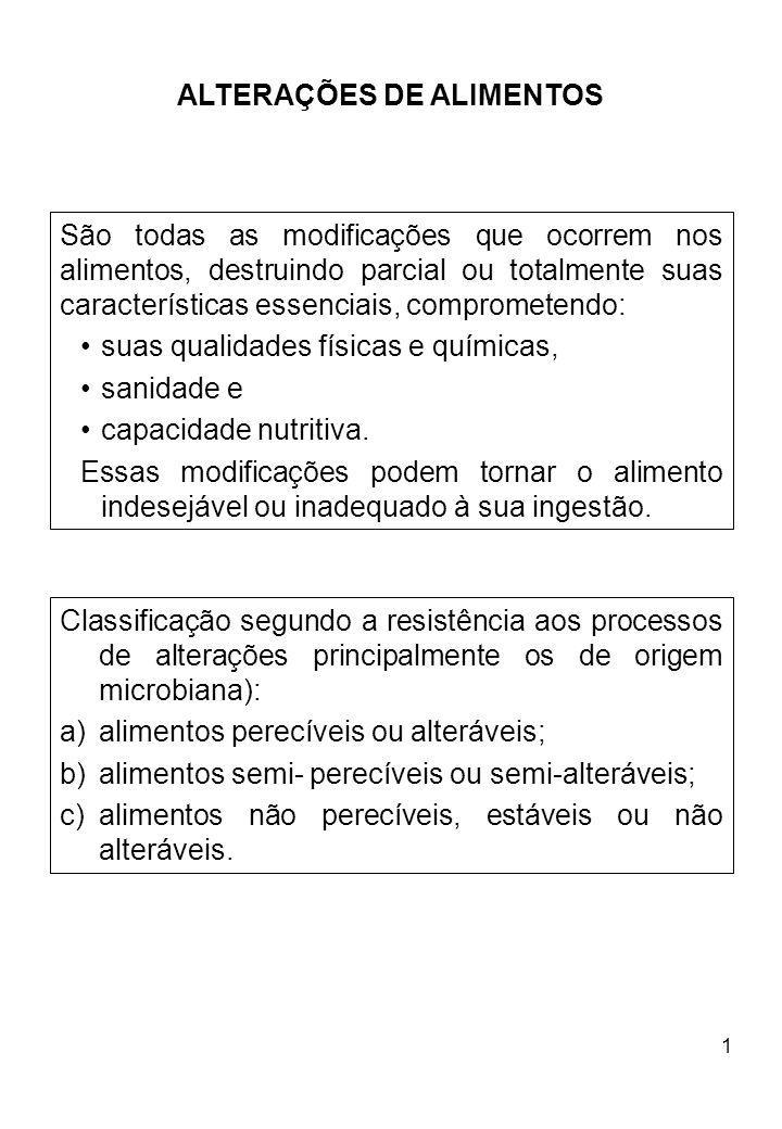 1 ALTERAÇÕES DE ALIMENTOS São todas as modificações que ocorrem nos alimentos, destruindo parcial ou totalmente suas características essenciais, compr