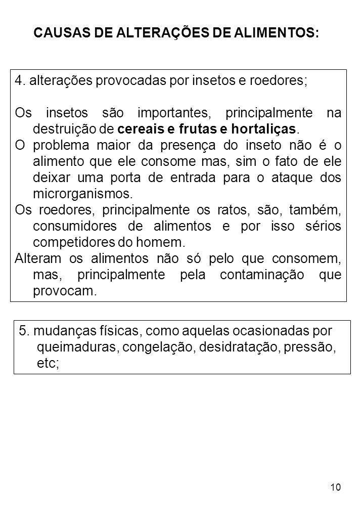 10 CAUSAS DE ALTERAÇÕES DE ALIMENTOS: 4. alterações provocadas por insetos e roedores; Os insetos são importantes, principalmente na destruição de cer