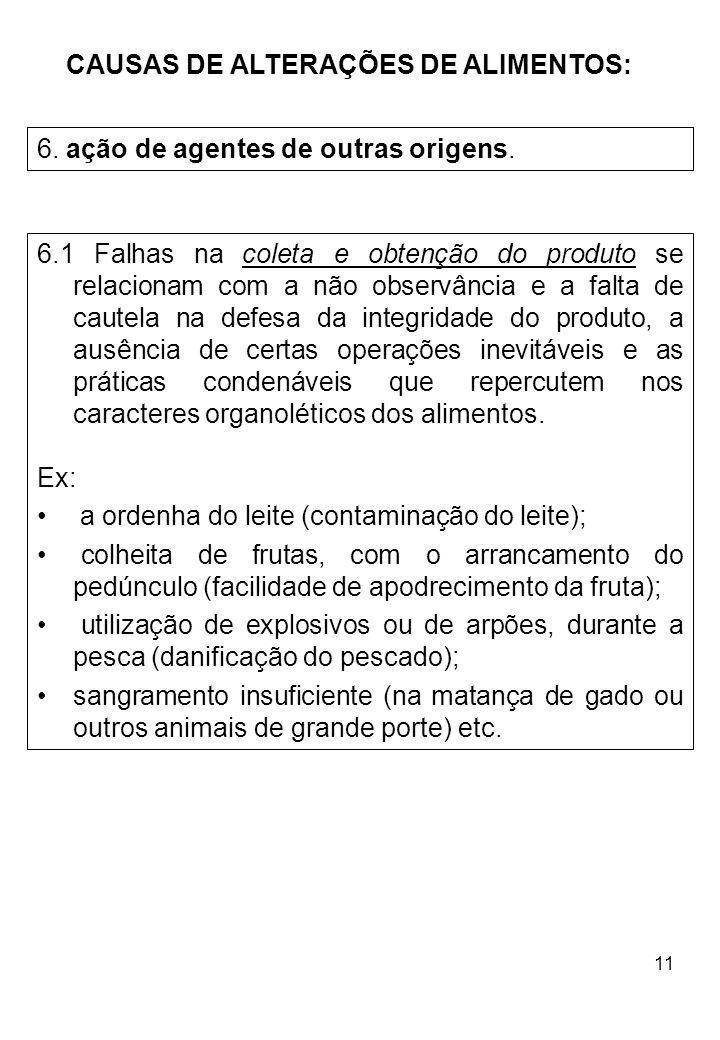 11 CAUSAS DE ALTERAÇÕES DE ALIMENTOS: 6. ação de agentes de outras origens. 6.1 Falhas na coleta e obtenção do produto se relacionam com a não observâ