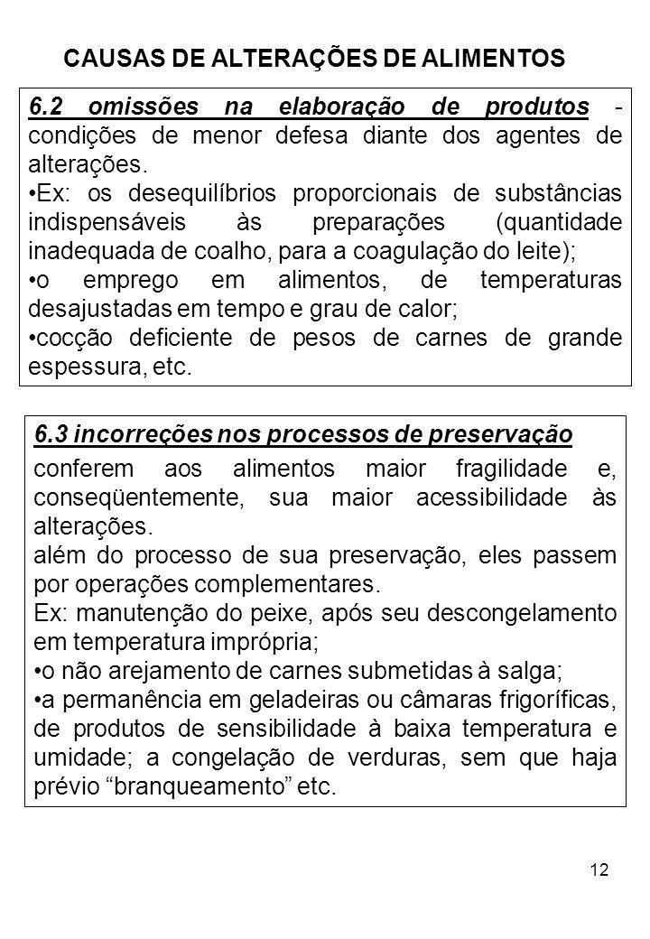 12 CAUSAS DE ALTERAÇÕES DE ALIMENTOS 6.3 incorreções nos processos de preservação conferem aos alimentos maior fragilidade e, conseqüentemente, sua ma