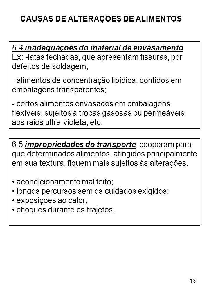 13 CAUSAS DE ALTERAÇÕES DE ALIMENTOS 6.5 impropriedades do transporte cooperam para que determinados alimentos, atingidos principalmente em sua textur