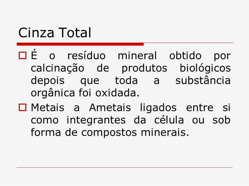 Cinza Total É o resíduo mineral obtido por calcinação de produtos biológicos depois que toda a substância orgânica foi oxidada. Metais a Ametais ligad